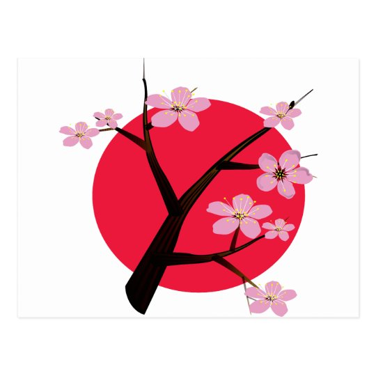 Japanese Cherry Blossom Tattoo Postcard