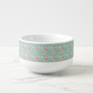 Japanese,cherry blossom,teal,white,pink,floral,fun soup bowl with handle