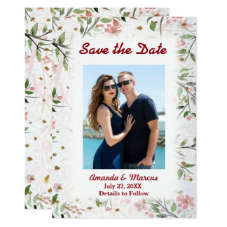 Japanese Cherry Blossoms Flowers Save the Date Card