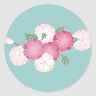 Japanese Cherry Blossoms Round Sticker
