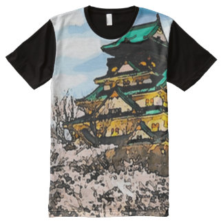 Japanese Cherry Blossoms Watercolor Art All-Over Print T-Shirt