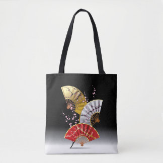 Japanese Cherry Fans All-Over-Print Tote Bag