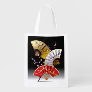 Japanese Cherry Fans Reusable Grocery Bag