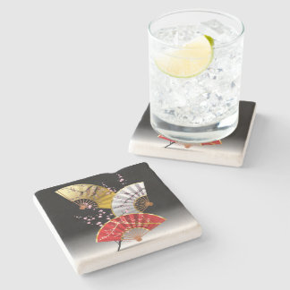Japanese Cherry Fans Stone Coaster