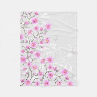 Japanese Cherry Flowers Small Fleece Blanket