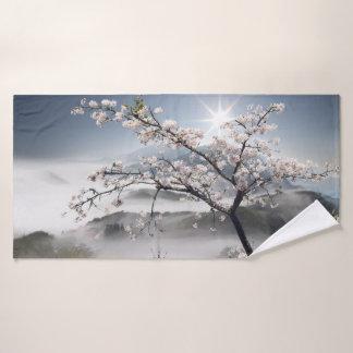Japanese Cherry Landscape Bath Towel