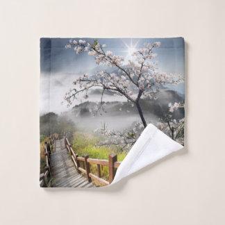 Japanese Cherry Landscape Wash Cloth