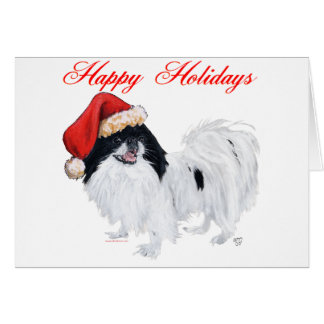 Japanese Chin Happy Holidays Card