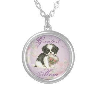Japanese Chin Heart Mom Silver Plated Necklace