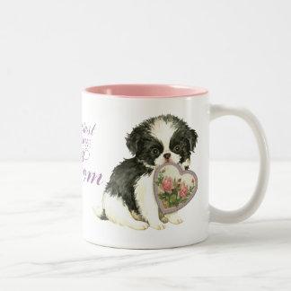 Japanese Chin Heart Mom Two-Tone Coffee Mug