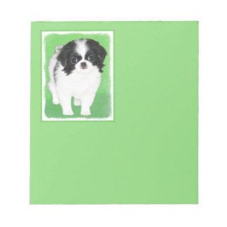 Japanese Chin Puppy Painting - Original Dog Art Notepad