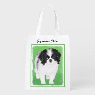Japanese Chin Puppy Painting - Original Dog Art Reusable Grocery Bag