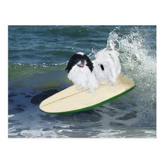 Japanese Chin Surfing Postcard