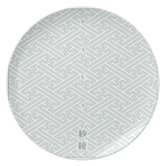 "Japanese classic pattern ""SAYA"". Harmony handle Plate"