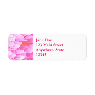 Japanese Clouds, Dawn, Orchid Pink and Coral Return Address Label