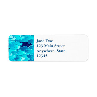 Japanese Clouds, Evening Sky, Turquoise and Indigo Return Address Label
