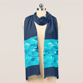 Japanese Clouds, Evening Sky, Turquoise and Indigo Scarf