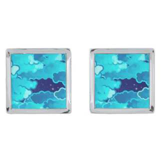 Japanese Clouds, Evening Sky, Turquoise and Indigo Silver Finish Cuff Links