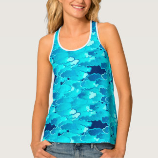 Japanese Clouds, Evening Sky, Turquoise and Indigo Tank Top