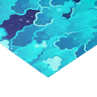 Japanese Clouds, Evening Sky, Turquoise and Indigo Tissue Paper