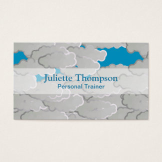 Japanese Clouds, Summer Day, White and Sky Blue Business Card