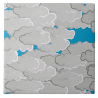 Japanese Clouds, Summer Day, White and Sky Blue Large Square Tile