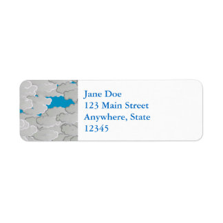 Japanese Clouds, Summer Day, White and Sky Blue Return Address Label