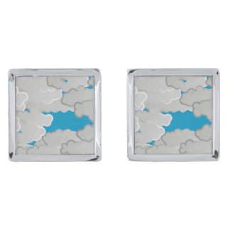 Japanese Clouds, Summer Day, White and Sky Blue Silver Finish Cuff Links