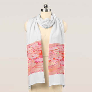 Japanese Clouds, Sunset, Coral, Fuchsia, Pink Scarf
