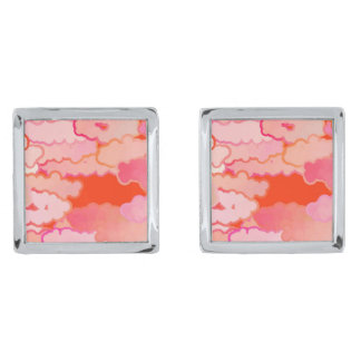 Japanese Clouds, Sunset, Coral, Fuchsia, Pink Silver Finish Cuff Links