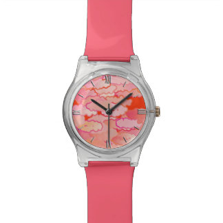 Japanese Clouds, Sunset, Coral, Fuchsia, Pink Watches