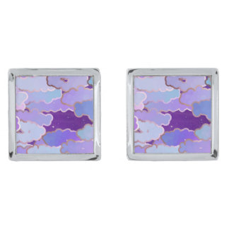 Japanese Clouds, Twilight, Violet and Deep Purple Silver Finish Cufflinks