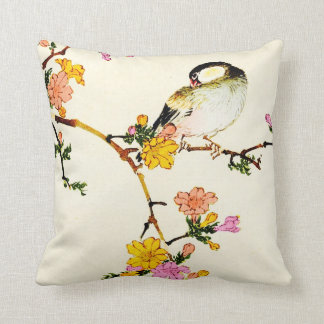 Japanese Colorful Flowers & Bird Cushion