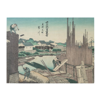 Japanese Construction Woodwork Ukiyo-e by Hokusai Wood Print