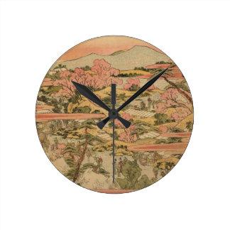 Japanese Countryside Round Clock