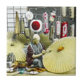 Japanese Craftsman Umbrella Maker No. 2 Vintage Tile