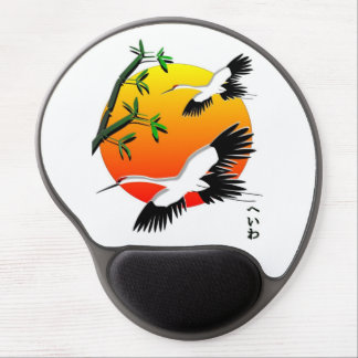 Japanese Crane Scene white background Gel Mouse Pad
