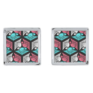 Japanese Cranes, Coral, Turquoise and Black Silver Finish Cuff Links