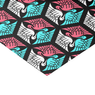 Japanese Cranes, Coral, Turquoise and Black Tissue Paper