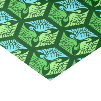 Japanese Cranes, Jade Green and Light Blue Tissue Paper