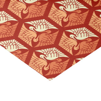 Japanese Cranes, Mandarin and Light Orange Tissue Paper
