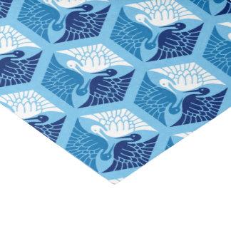 Japanese Cranes, Navy, White, and Light Blue Tissue Paper