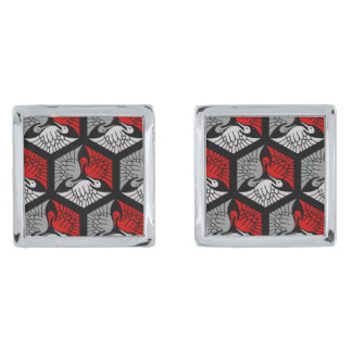 Japanese Cranes, Red, Gray / Grey and Black Silver Finish Cufflinks