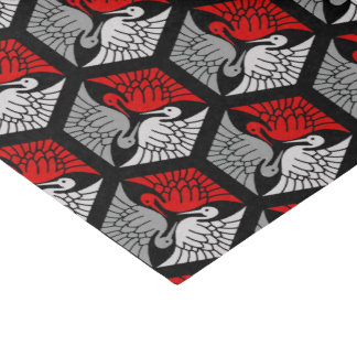 Japanese Cranes, Red, Gray / Grey and Black Tissue Paper