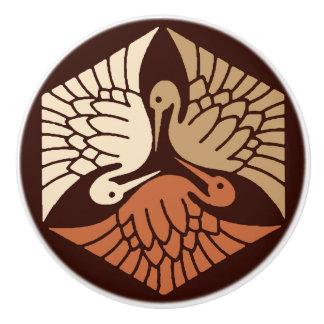 Japanese Cranes, Tan, Rust & Chocolate Brown Ceramic Knob