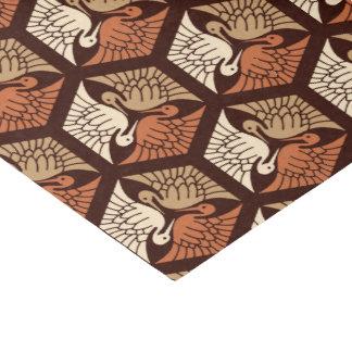 Japanese Cranes, Tan, Rust & Chocolate Brown Tissue Paper