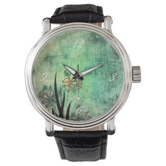 Japanese Daffodil Aquamarine Scratch Print Watch