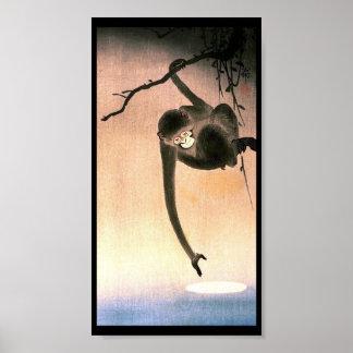 Japanese Dangling Monkey Woodblock Art Ukiyo-E Poster