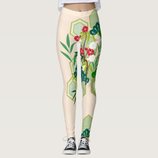 Japanese design with flowers and leaves leggings
