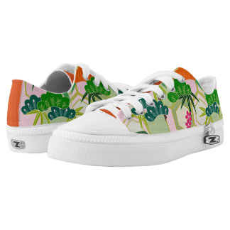 Japanese design with flowers and leaves low tops